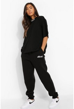 Black Oversized Official Print T-shirt & Jogger