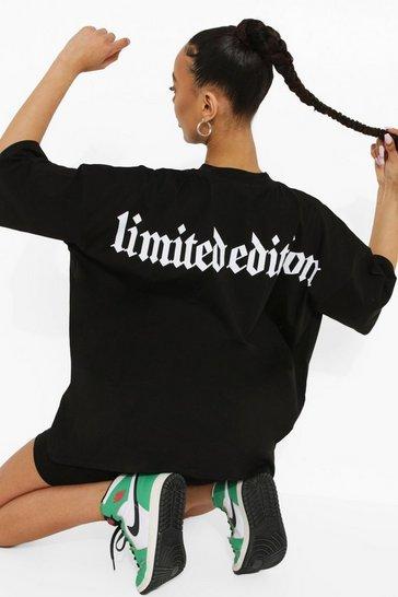 Black Oversized Printed T-shirt & Short Set