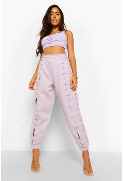 Lilac purple Lace Up Joggers