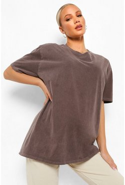 שוקולד Brown Maternity Washed Oversized T-Shirt