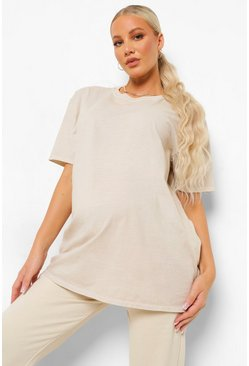 אבן בהיר Beige Maternity Washed Oversized T-Shirt