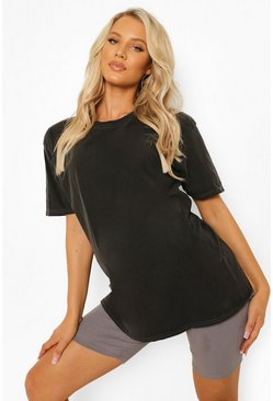 פחם Grey Maternity Oversized Washed T-Shirt