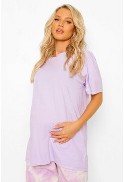 Lilac purple Purple Maternity Oversized Washed T-Shirt