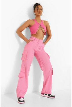 Pink Branded Pocket Utility Trousers