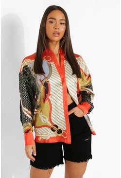 Red Printed Long Sleeve Oversized Resort Shirt
