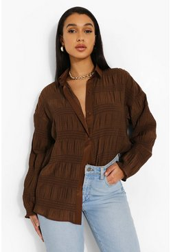 Chocolate brown Oversized Shirred Crinkle Shirt