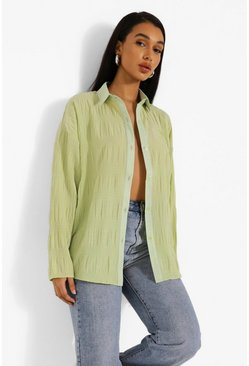 Sage green Oversized Shirred Crinkle Shirt