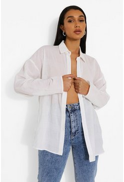 White Oversized Shirred Crinkle Shirt