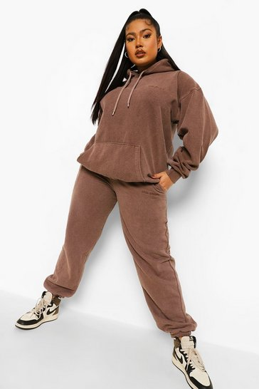 Brown Plus Ofcl Studio Overdyed Marl Tracksuit