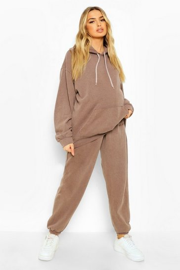 Chocolate brown Maternity Ofcl Overdye Under Bump Tracksuit