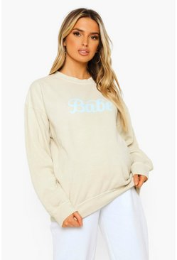 Ecru white Maternity Babe Washed Sweatshirt