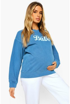 Navy Maternity Babe Washed Sweatshirt