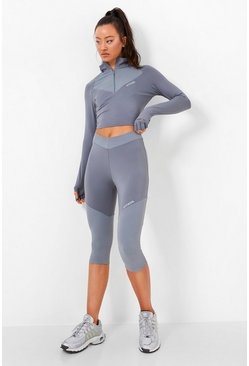 Grey Waist Shaping Active Cropped Legging