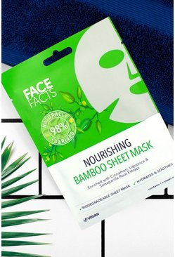 Mascarilla de lámina de bambú 98% natural Face Facts, Verde