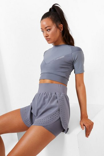 Grey Double Layer Active Running Short