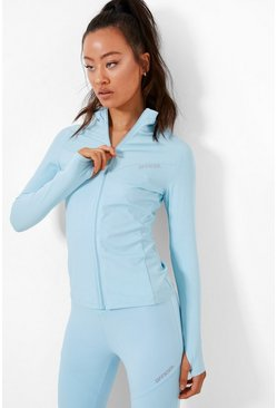 Blue Active Ribbed Funnel Neck Jacket