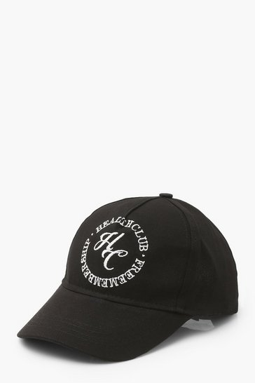 Black Health Club Slogan Sports Cap