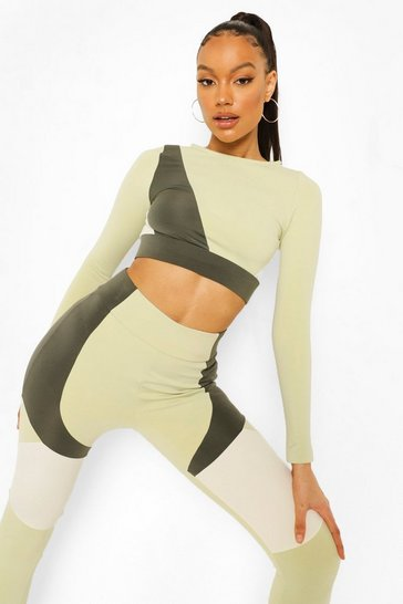 Khaki Colour Block Active Crop Top