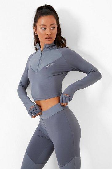 Grey Funnel Neck Zip Active Top With Gloves