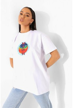 White Butterfly Print Oversized T Shirt