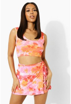 Pink rosa Tie Dye Wrap Cut Out Waist Strappy Mini Skirt