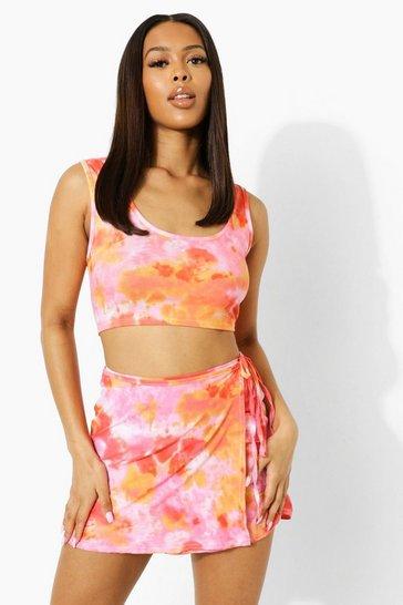 Pink Tie Dye Wrap Cut Out Waist Strappy Mini Skirt