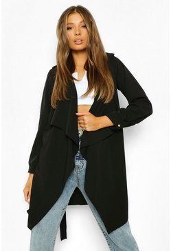 Black Waterfall Military Detail Belted Jacket