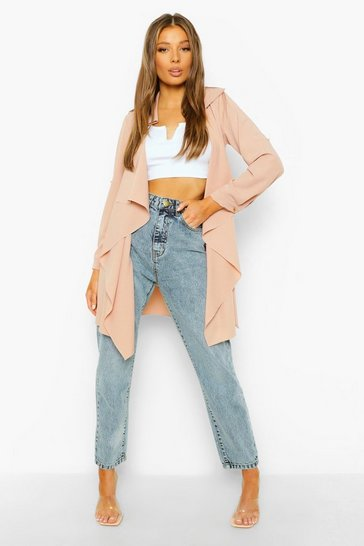Pink Waterfall Military Detail Belted Jacket