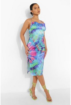 Blue Tie Dye Cowl Neck Strappy Midi Slip Dress