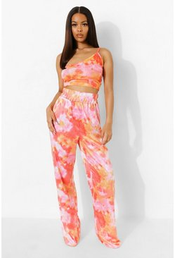 Pink Tie Dye Elasticated Wide Leg Trousers