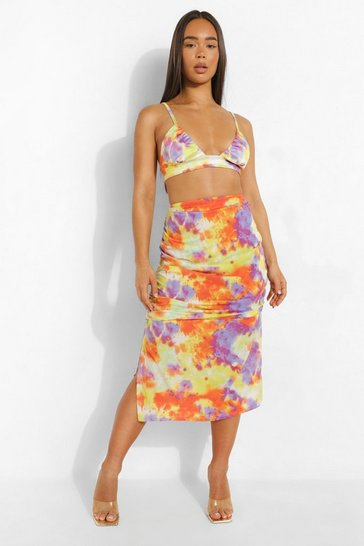 Purple Tie Dye Cut Out Waist Midi Skirt