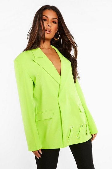 Lime green Oversized Eyelet Detail Blazer