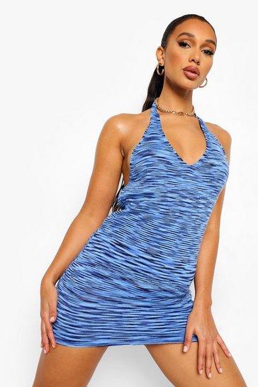 Blue V Neck Halter Knitted Mini Dress