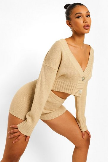 Stone beige Cropped Cardigan And Knitted Short Set