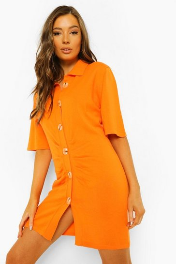 Orange Button Through Ruched Knitted Dress