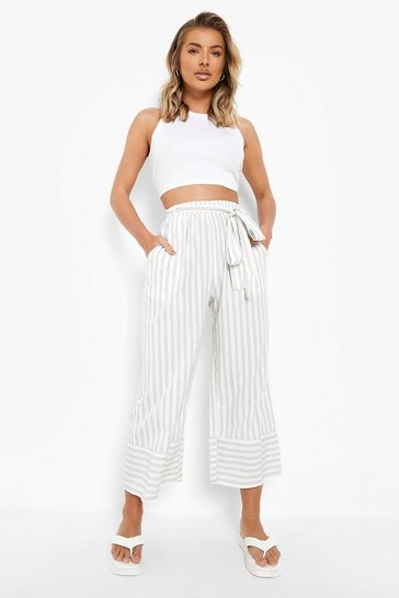 Light grey grey Striped Belted Culottes