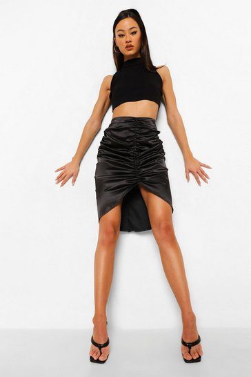 Black Satin Ruched High Low Midi Skirt