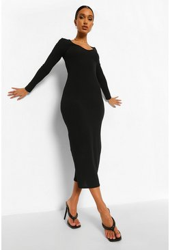 Black Rib Scoop Neck Midaxi Bodycon Dress