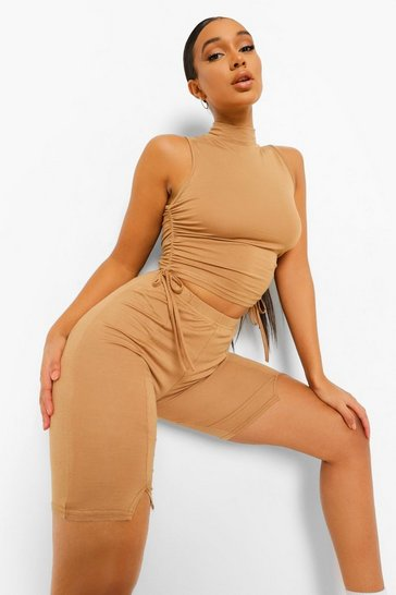 Camel beige Beige Rouched Side High Neck Crop Top