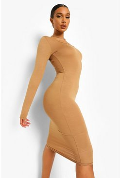 Camel beige Long Sleeve Midi Boydcon Dress