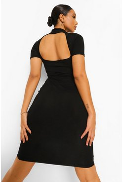 Black High Neck Cut Out Back Midi Dress