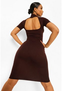 Chocolate brown High Neck Cut Out Back Midi Dress