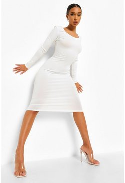 White Rib Scoop Back Long Sleeve Midi Dress