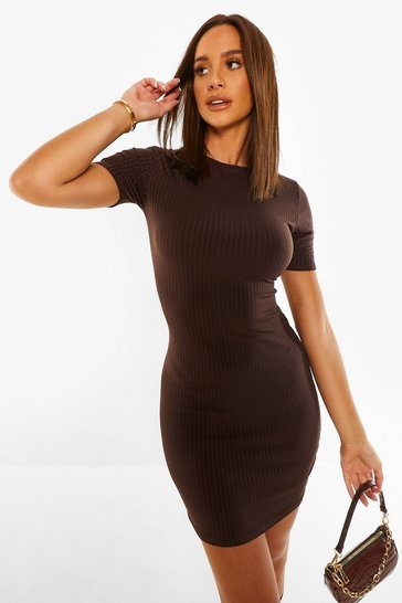 Chocolate brown Rib Short Sleeve  Bodycon Mini Dress