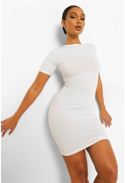White Rib Short Sleeve  Bodycon Mini Dress