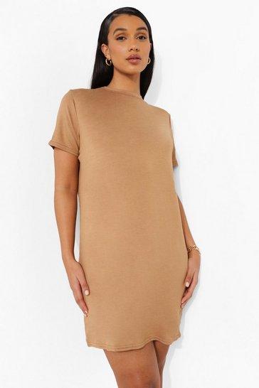 Camel beige Short Sleeve T Shirt Dress