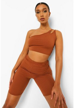 Camel beige Beige Rib One Shoudler Strappy Crop Top