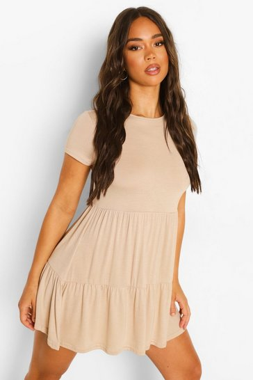Stone beige Short Sleeve Drop Hem Smock Dress