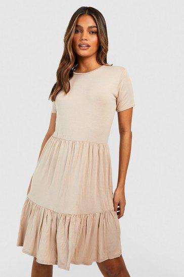 Stone beige Short Sleeve Drop Hem Smock Dress