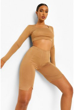 Camel beige Scoop Neck Long Sleeve Crop Top